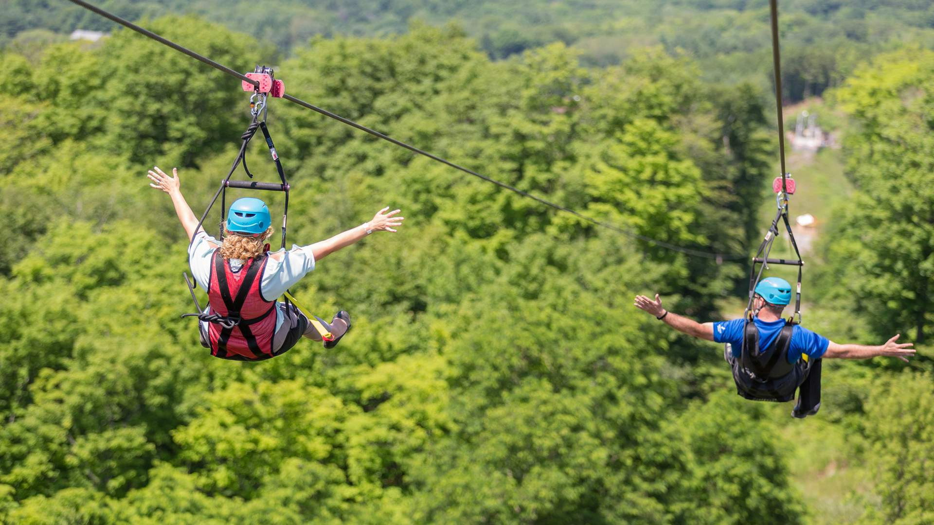 two people gliding at the same time