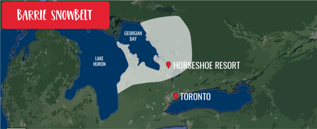 Map of the Ontario snowbelt generated from Georgian Bay and Lake Huron
