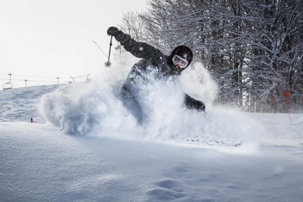Skier spraying snow on a powder day